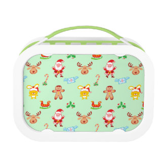Santa, reindeer, bunny and cookie man Xmas pattern Lunch Box