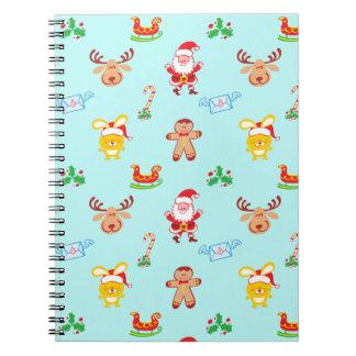 Santa, reindeer, bunny and cookie man Xmas pattern Notebook