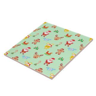 Santa, reindeer, bunny and cookie man Xmas pattern Tile