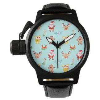 Santa, reindeer, bunny and cookie man Xmas pattern Watch