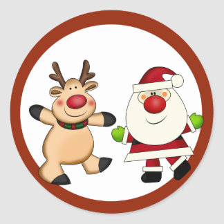 Santa & Reindeer Christmas Holiday Classic Round Sticker