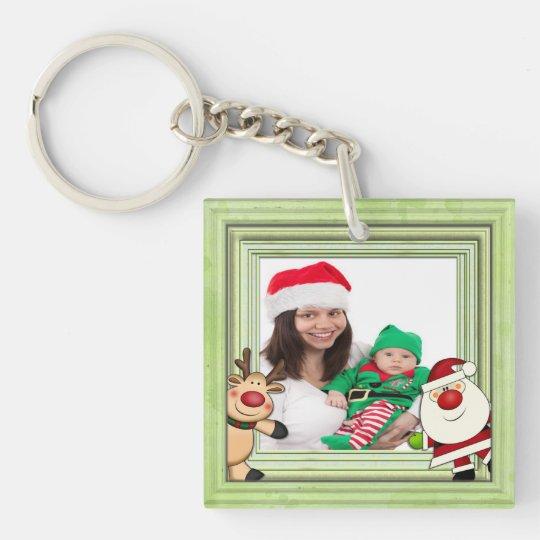 Santa & Reindeer Christmas Photo Template Single-Sided Square Acrylic Keychain