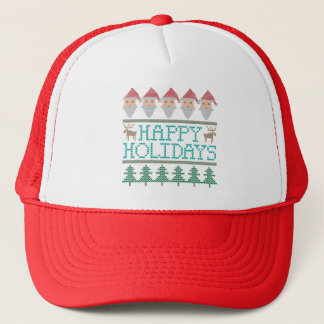 Santa Reindeer Christmas Tree Happy Holidays Trucker Hat