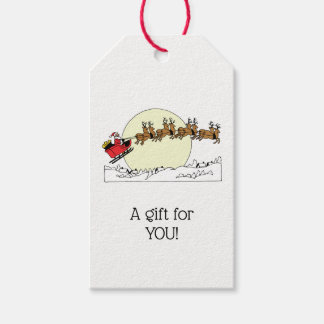 Santa Reindeer Over Snow Covered Town Lt Moon Gift Tags