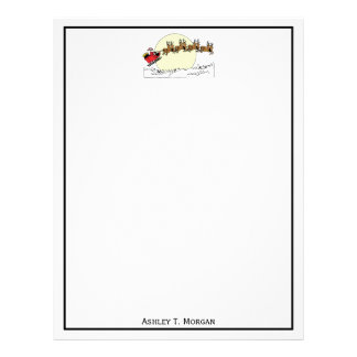 Santa Reindeer Over Snow Covered Town Lt Moon Letterhead