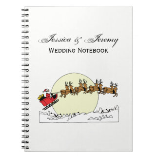Santa Reindeer Over Snow Covered Town Lt Moon Notebooks