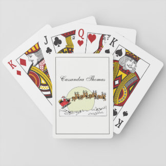 Santa Reindeer Over Snow Covered Town Lt Moon Playing Cards