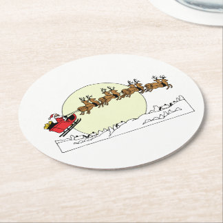Santa Reindeer Over Snow Covered Town Lt Moon Round Paper Coaster
