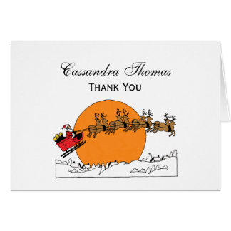 Santa Reindeer Over Snow Covered Town Moon Card