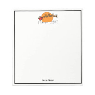 Santa Reindeer Over Snow Covered Town Moon Notepad