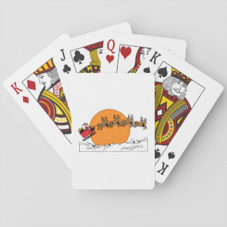 Santa Reindeer Over Snow Covered Town Moon Playing Cards