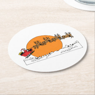 Santa Reindeer Over Snow Covered Town Moon Round Paper Coaster