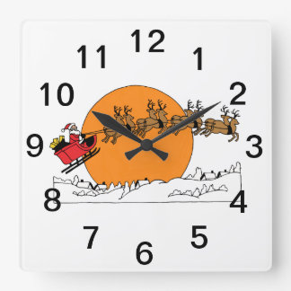 Santa Reindeer Over Snow Covered Town Moon Square Wall Clock
