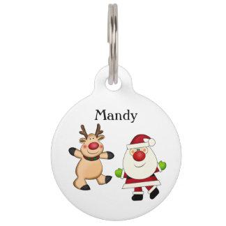 Santa & Reindeer Pet ID Tag