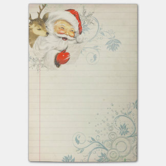 Santa & Reindeer Post-It Note Sticky Note Pad
