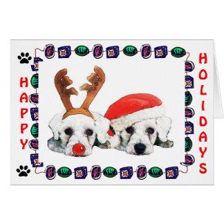 Santa Reindeer Schnauzers Card