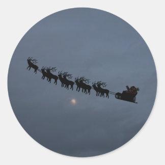 Santa & Reindeer Silhouette Round Sticker
