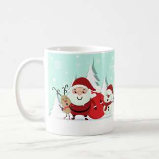 Santa, Reindeer & Snowman custom name mugs
