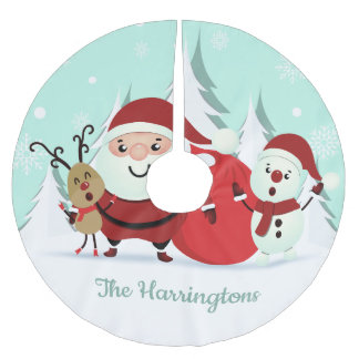 Santa, Reindeer & Snowman custom name tree skirt