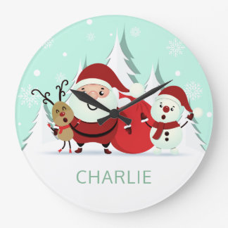 Santa, Reindeer & Snowman custom name wall clocks