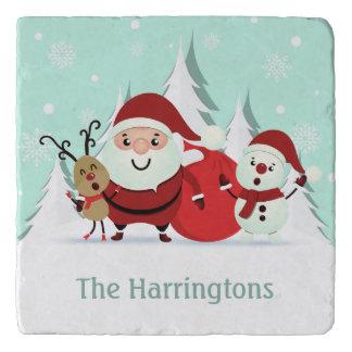 Santa, Reindeer & Snowman custom text name trivets