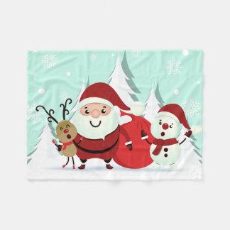 Santa, Reindeer & Snowman fleece blankets