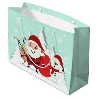 Santa, Reindeer & Snowman large Christmas gift bag