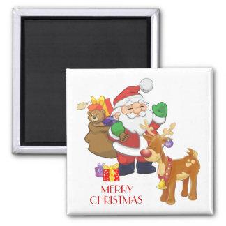 Santa & Reindeer Square Magnet