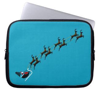 Santa Reindeers Neoprene Laptop Sleeve 10 inch