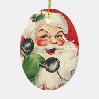 Santa Retro Vintage Ceramic Ornament
