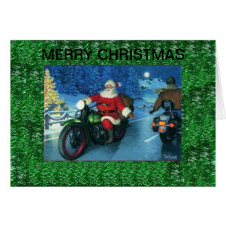 Santa Riding a Harley Davidson Christmas Card