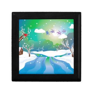 Santa Riding Christmas Sleigh at Night Gift Box