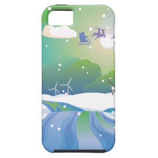 Santa Riding Christmas Sleigh at Night iPhone 5 Cover