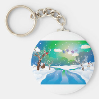 Santa Riding Christmas Sleigh at Night Keychain