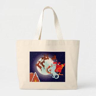 Santa Riding Christmas Sleigh at Night Large Tote Bag