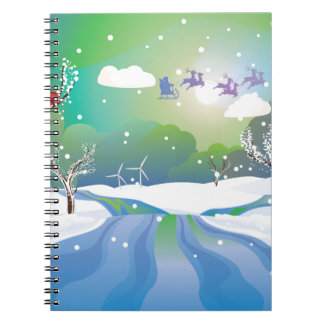 Santa Riding Christmas Sleigh at Night Notebooks