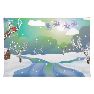 Santa Riding Christmas Sleigh at Night Placemat