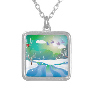Santa Riding Christmas Sleigh at Night Silver Plated Necklace