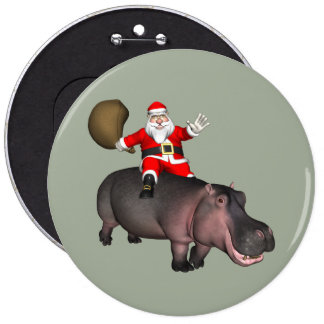 Santa Riding On Hippo 6 Inch Round Button
