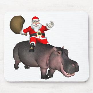 Santa Riding On Hippo Mouse Pad