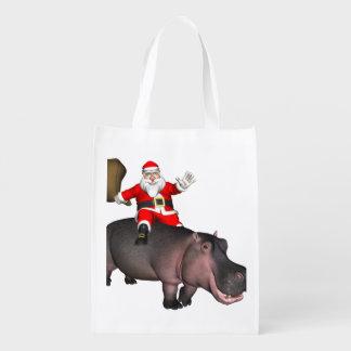 Santa Riding On Hippo Reusable Grocery Bag