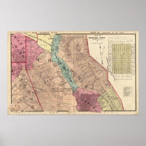 Santa Rosa, Vallejo, and Sonoma Townships Poster