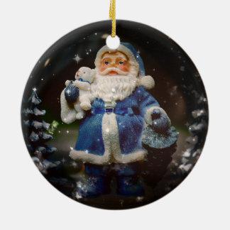 Santa Round Ceramic Ornament
