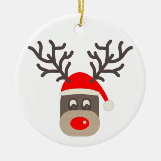 Santa Rudolf Ceramic Ornament