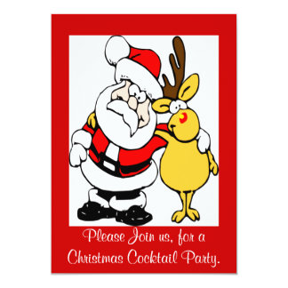 Santa & Rudolph Christmas Party Invitation