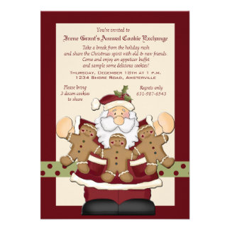 Santa s Cookie Exchange Invitation Card