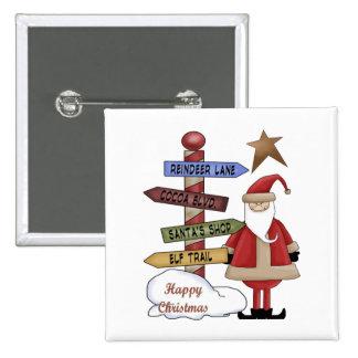 Santa s Pole Pinback Button