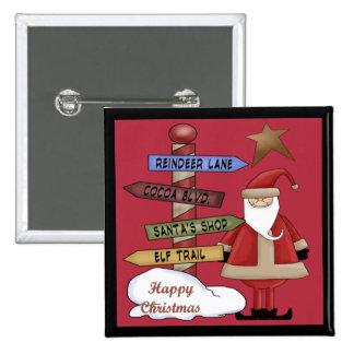 Santa s Pole Pinback Buttons