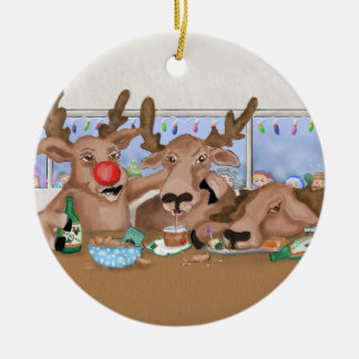 Santa's Reindeer Behaving Badly Ornament