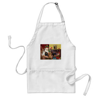 Santa s Two Long Haired Dachshunds Apron